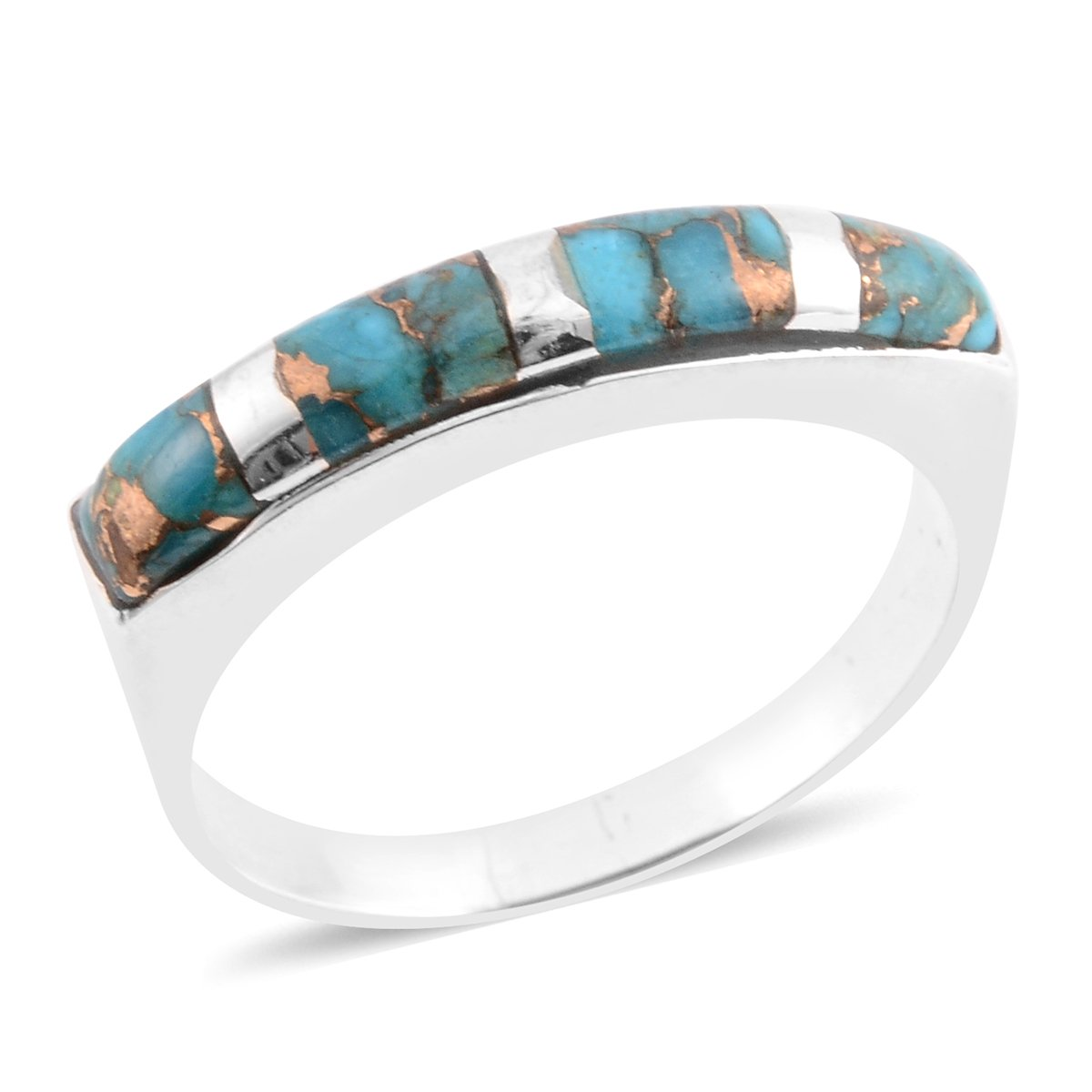925 Sterling Silver Fancy Turquoise Band Fashion Ring For Women Size 10