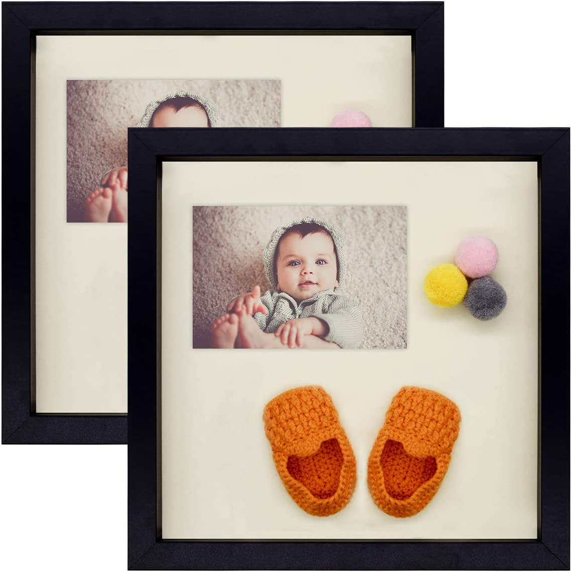 Gallery Wall Display Art 11x11, Black Great for Weddings Sawtooth Hanger Set of 2 Swivel Tabs Decorations Projects Frametory 11x11 Black Shadow Box Frame Includes Moveable Separator
