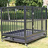 Sliverylake XXL 42'' Heavy Duty Dog Pet Cage Crate Kennel Playpen Exercise Pan w/ Swivel Wheels Tray New