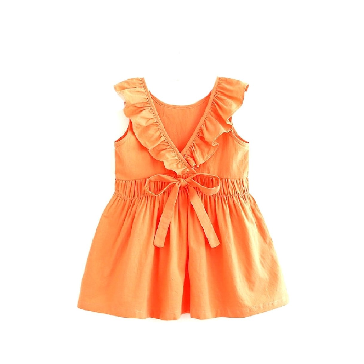 Zago Big Girls' Fine Cotton Tunic Ruffled with Bow Pure Color Dress Orange 80