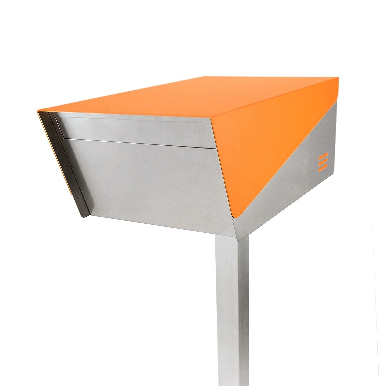 San Jose(サンノゼ) ディープ 郵便ポスト ポール付き スタンド型 ステンレス製 鍵付き おしゃれ 大型 アメリカンポスト 大容量 郵便受け 99.9% 防水構造 日本製 オレンジ B01K3XZC2O オレンジ オレンジ