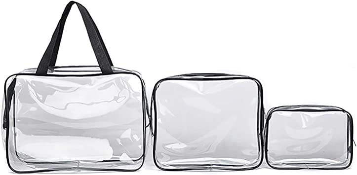 3 Pcs Clear Cosmetic Bag Toiletries Set Makeup Waterproof PVC Zippered Travel Toiletry Bag Carry Luggage Pouch Portable Makeup Bag Organizer Bag Set for Travel Bathroom Organizer Storage Bags