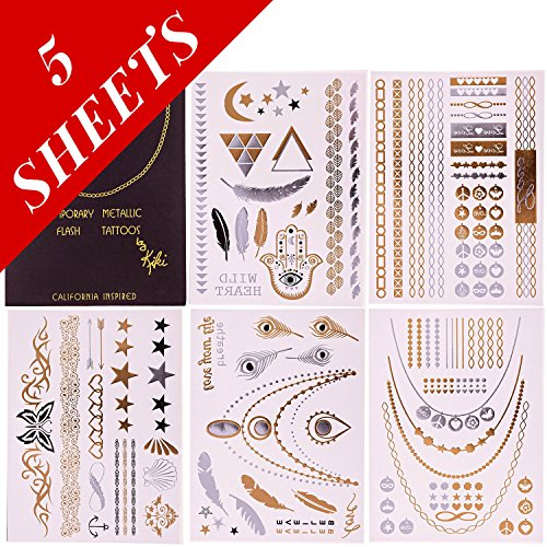 Premium Temporary Metallic Flash Jewelry Tattoos By Kiki - 5 Sheets- 100% Risk Free Guarantee - Best Gold and Silver Jewelry Rings, Armbands, Necklaces and (California Gold Tattoo)
