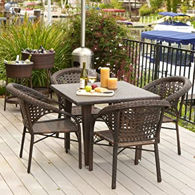 Christopher Knight Home Malibu Patio Furniture ~ Outdoor Wicker Dining Set with Stacking Patio Chairs (5 Piece)(Brown) - Includes Four Outdoor Wicker Patio Dining Chairs ~ One Wicker Patio Dining Table PREMIUM OUTDOOR WICKER is smooth and soft, resists sun's heat on hot days, and feels great on bare skin. CHAIRS ARRIVE FULLY ASSEMBLED ~ Some Assembly Required For the Table ~ But Totally Worth It!! ~ - patio-furniture, dining-sets-patio-funiture, patio - 61XGWTSXQcL. SS400  -