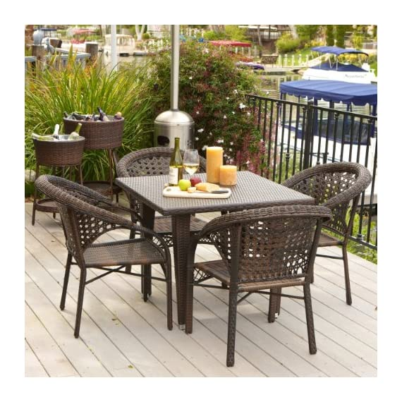 Christopher Knight Home Malibu Patio Furniture ~ Outdoor Wicker Dining Set with Stacking Patio Chairs (5 Piece)(Brown) - Includes Four Outdoor Wicker Patio Dining Chairs ~ One Wicker Patio Dining Table PREMIUM OUTDOOR WICKER is smooth and soft, resists sun's heat on hot days, and feels great on bare skin. CHAIRS ARRIVE FULLY ASSEMBLED ~ Some Assembly Required For the Table ~ But Totally Worth It!! ~ - patio-furniture, dining-sets-patio-funiture, patio - 61XGWTSXQcL. SS570  -