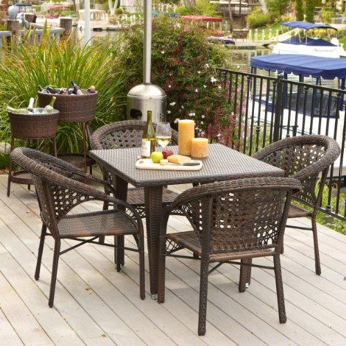 Malibu Patio Furniture ~ Outdoor Wicker Dining Set with Stacking Patio Chairs (5 Piece)(Brown)