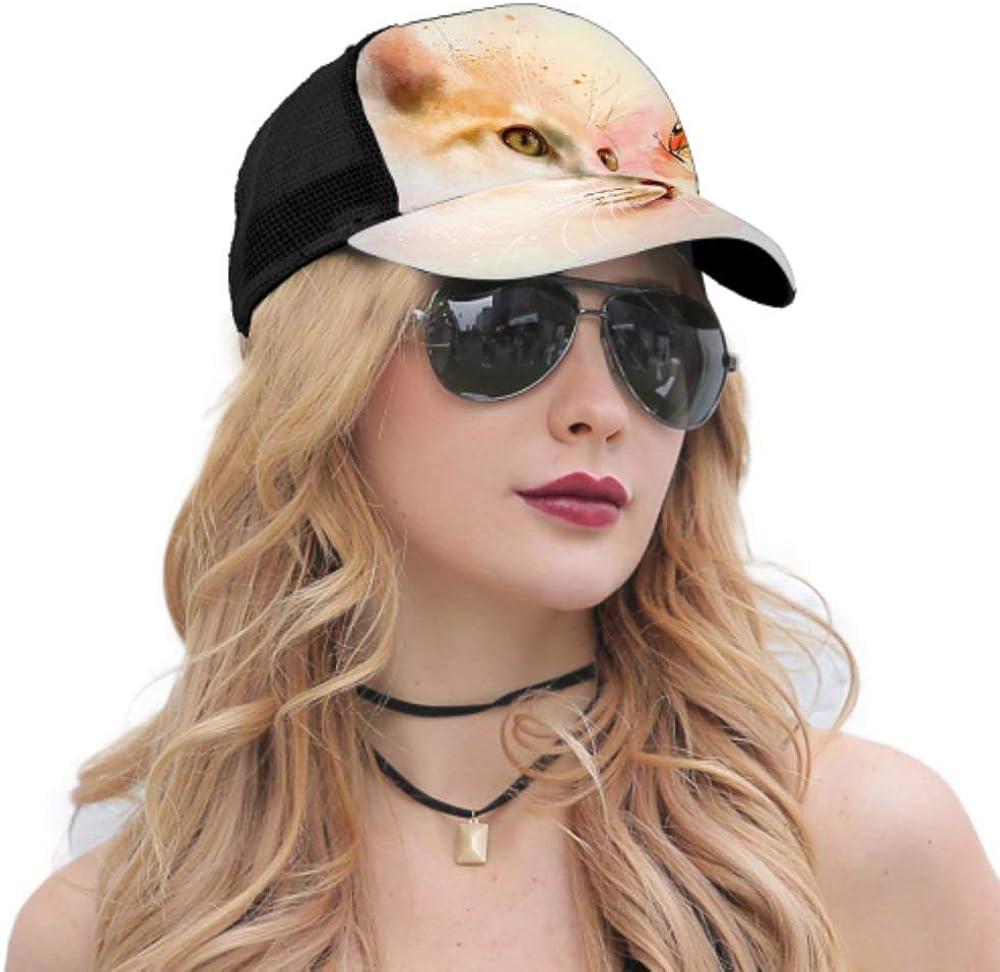 Baseball Cap Animal Collection Cat Butterfly Adjustable Mesh Unisex Baseball Cap Trucker Hat Fits Men Women Hat