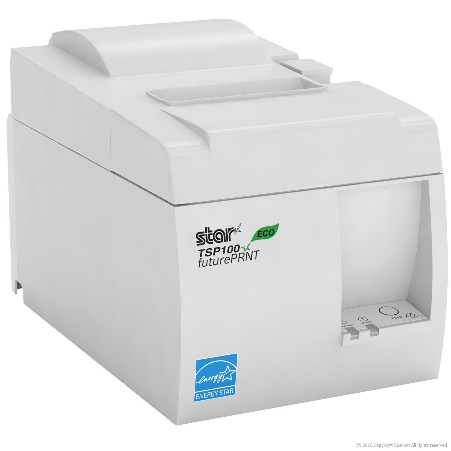 Square POS Compatible Star Micronics TSP143IIILAN Thermal Network Ethernet LAN Receipt Printer and 10 Rolls of Epsilont Thermal Receipt Paper 3-1//8 x 230ft White