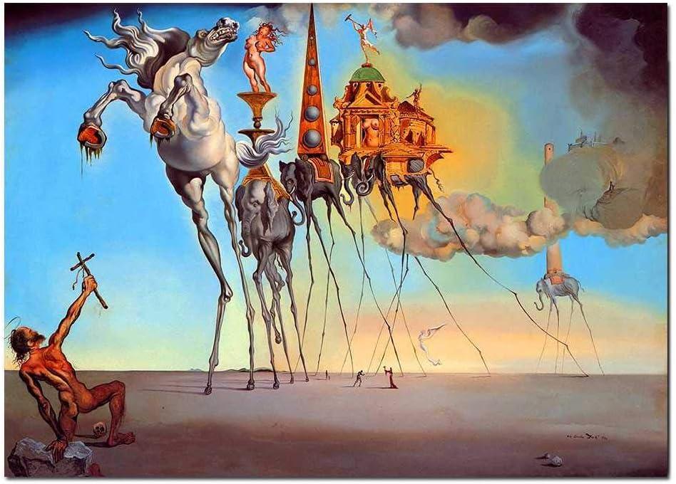 NOBRAND Salvador Dali Lienzo Pintura Arte Abstracto Caballo, Elefante Cuadros Clásicos del Arte De La Pared para Sala De Estar Decoración del Hogar Impresión Sin Marco