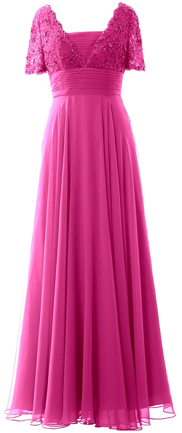 MACloth Women Short Sleeves Mother of the Bride Dress Lace Formal Evening Gown