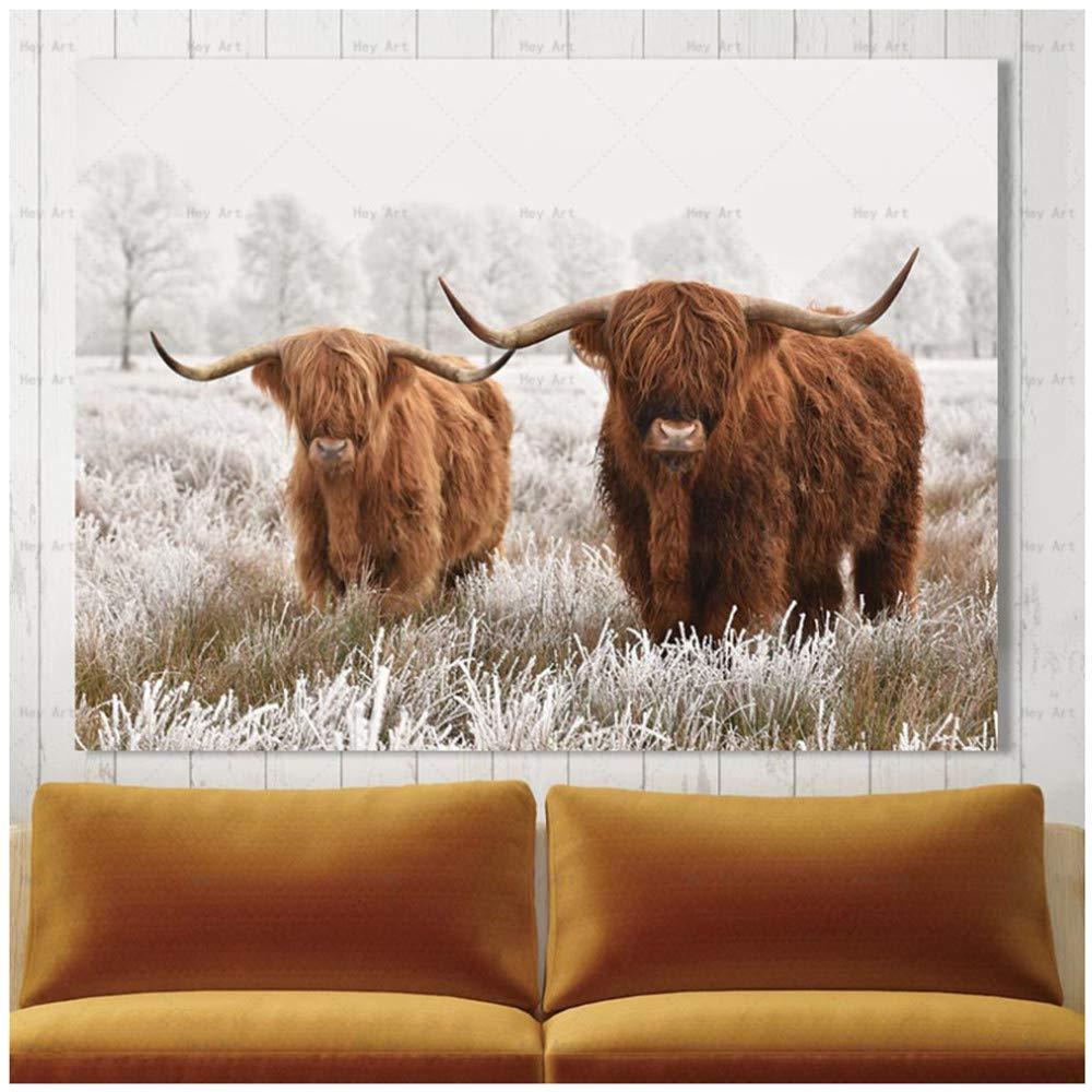 ZHANGPENGBOFBH Home Room Art Wanddekoration Moderne Wohnkultur Bild Drucken Highland Cow Leinwand Malerei Wohnzimmer Drucke-60x90 cm Kein Rahmen