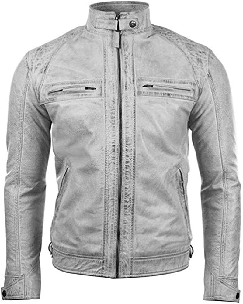 Mens Biker Motorcycle Vintage Distressed White Leather Jacket with Embossed Skull