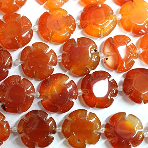 Natural Carved Flower 20mm Real Gemstones Loose Beads for Jewerly Bracelet Making (red agate)