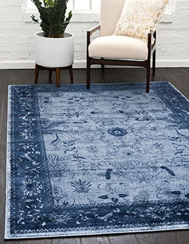 Unique Loom La Jolla Collection Tone-on-Tone Traditional Blue Area Rug 9' 0 x 12' 0