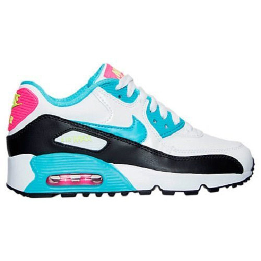 Nike Air Max 90 Letter Big Kids Style Shoes : 833376, WhiteGamma Blue Pink Blast Ghost Green, 6.5