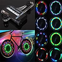 AlexVyan Rainbow 14 LED Motorcycle Bycycle Bike Wheel Signal Tire Spoke Light 30 Changes with AAA Battery