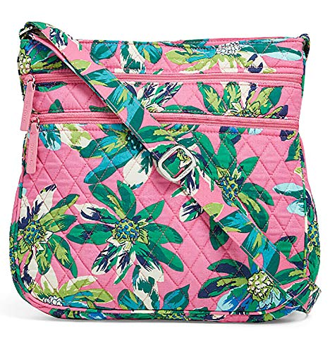 Vera Bradley Triple Zip Hipster Cross-body Bag with Updated Solid Interiors (Tropical Paradise with Blue ()