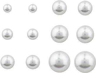 SIX Schmuck, 6er Ohrring Set mit klassischen weißen Perlen Ohrsteckern in 6 Größen (706-656)