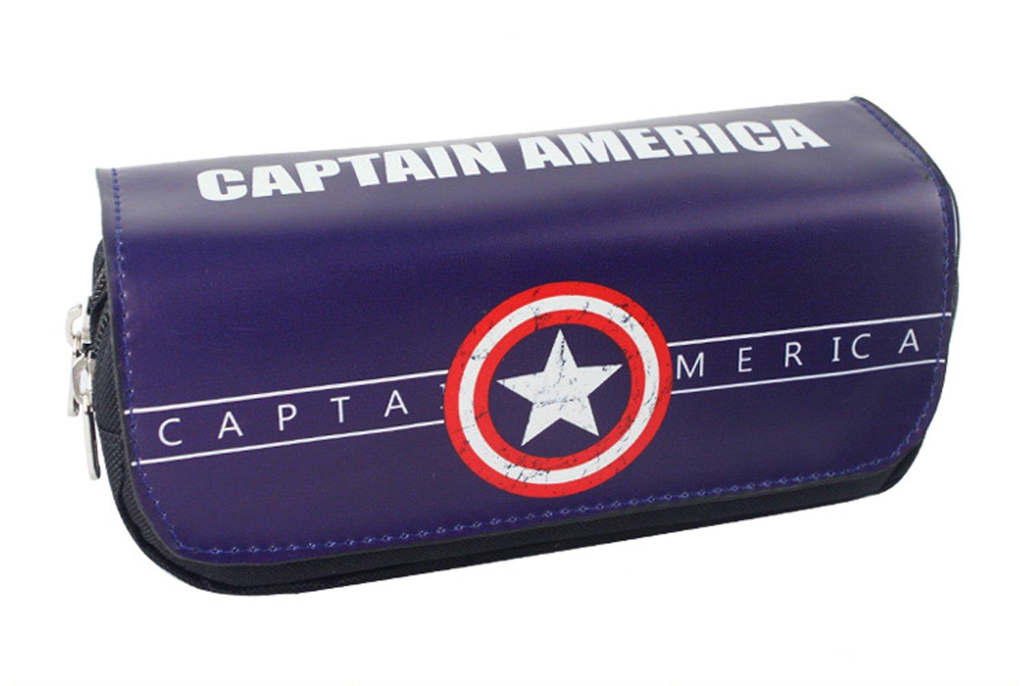 YOURNELO Super Heroes Pencil Bag Pen Case Multi-Functional Pouch Zipper Bag for Pens Pencils Holder (Captain America)