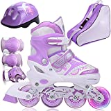 DSFGHE Roller Skates Inline Skates Boys Girls Adjustable Size Roller Childrens Adults Kids Rollerblades Set For Beginners Toddlers Ice Skate,Purple-S