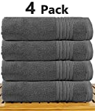 TowelPro Luxury Premium Soft 100% Cotton 700 GSM Highly Absorbent Machine Washable Multi-Purpose Hotel, Spa, Home, Bath Towels Set of 4 Extra Large 27'' X 55'' (Gray)