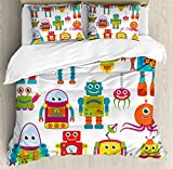 Boy's Room Duvet Cover Set Queen Size by Lunarable, Robot Drawing with Cartoon Style Future Toys with Smiling Faces Aliens Fun Games, Decorative 3 Piece Bedding Set with 2 Pillow Shams, Multicolor