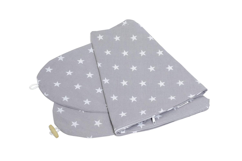 Stillkissen Enden hat einen n/ützlichen h/ölzernen Knopf Niimo- Stillkissenbezug 190 cm Grau mit wei/ße Sterne 100/% Baumwolle Grau-Sterne Wei/ß