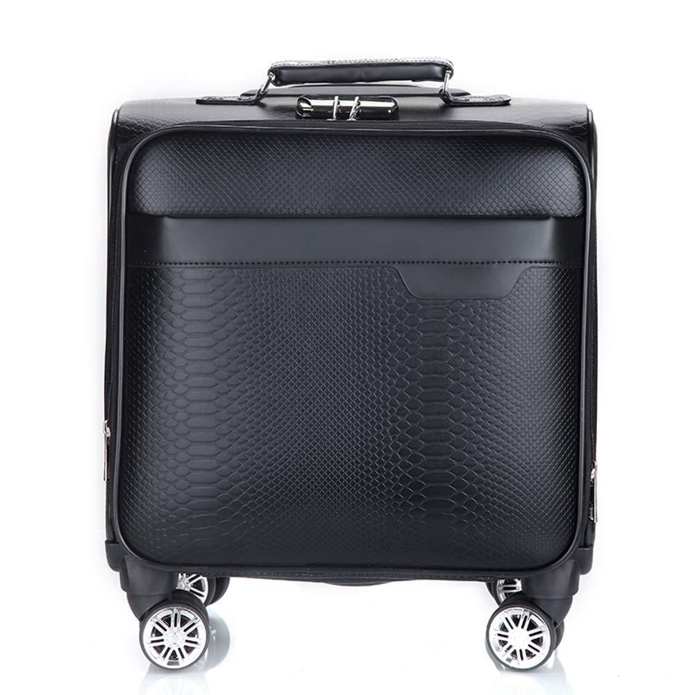 ラップトップコンパートメント付きの革製ローリングビジネストロリーケース、ほとんどの航空会社(18インチ)で認可されたキャビンハンド用荷物用スーツケースで超軽量展開可能なトラベルキャリー。  black B07L4M8H44