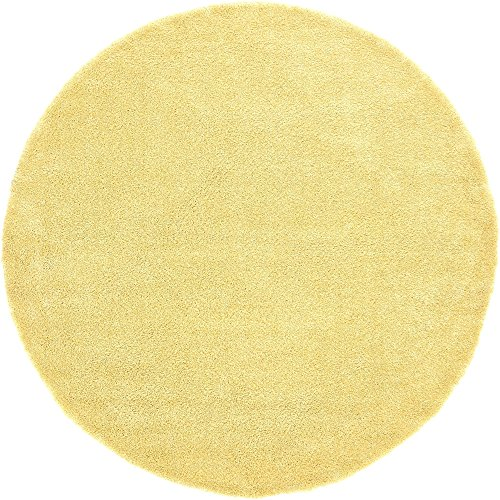 Unique Loom Solo Collection Solid Plush Kids Yellow Round Rug (8' 0 x 8' 0)