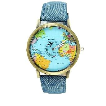 fashion women men vintage earth world map watch denim fabric wrist watches blue