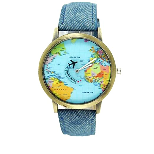 Amazon world map women men denim fabric watches quartz relojes world map women men denim fabric watches quartz relojes mujer relogio feminino gift blue gumiabroncs