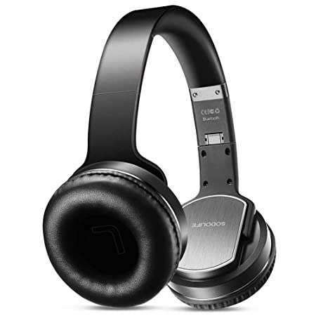 SODOLIFE Bluetooth Headphones with Loudspeaker Upgraded Unique Design , Foldable Wireless Headsets Over Ear with Built-in Mic, Support TF Card, FM Radio, Wired Mode for Cellphones PC TV – Black