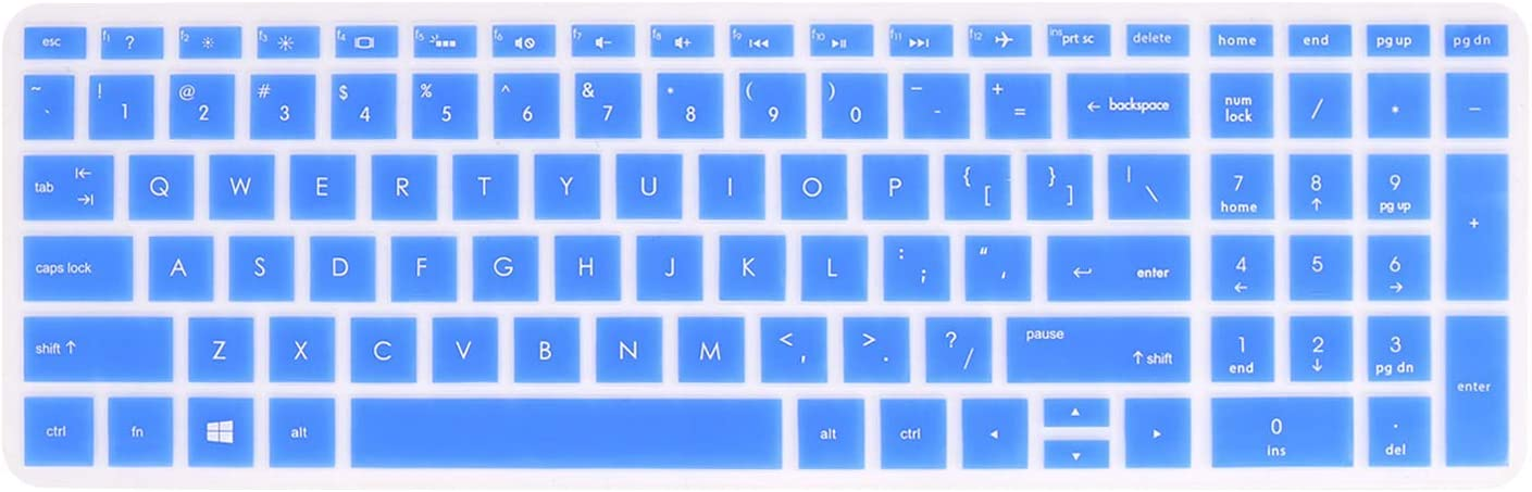 "Keyboard Cover Compatible with 2019 2018 HP Pavilion 15 Series /2019 2018 HP Pavilion x360 15.6"" Series/HP ENVY x360 15.6"" Series/HP ENVY 17 Series/HP Laptop 15t 17t 17-ca0011nr 17-by0040nr -Blue"