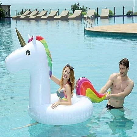 Geng Piscinas hinchables Flotador de la Piscina Inflable Gigante Unicornio Flotador Natación Anillo Juguete del Verano Inflable de la Piscina (Color : White, Size : 210 * 90 * 100CM): Amazon.es: Hogar