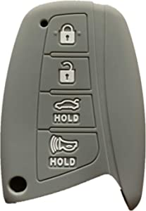 Rpkey Silicone Keyless Entry Remote Control Key Fob Cover Case protector Replacement Fit For 2015 2016 Hyundai Genesis 2013 2014 2015 Santa Fe 2014 2015 Equus 2015 Azera SY5DMFNA04 (Gray)