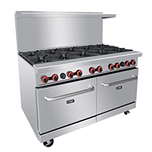 Commercial 60'' Gas 10 Burner Range With 2 Standard Ovens - Kitma Heavy Duty Natural Gas Cooking Performance Group for Kitchen Restaurant, 304,000 BTU