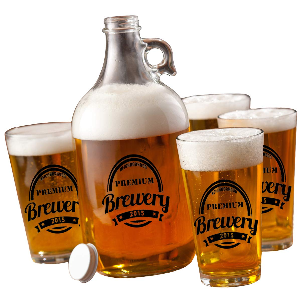 Personalized Growler Set 64 oz with 4 Pub Glasses 16 oz - Monogrammed Pub Glasses- Custom Beer Growler