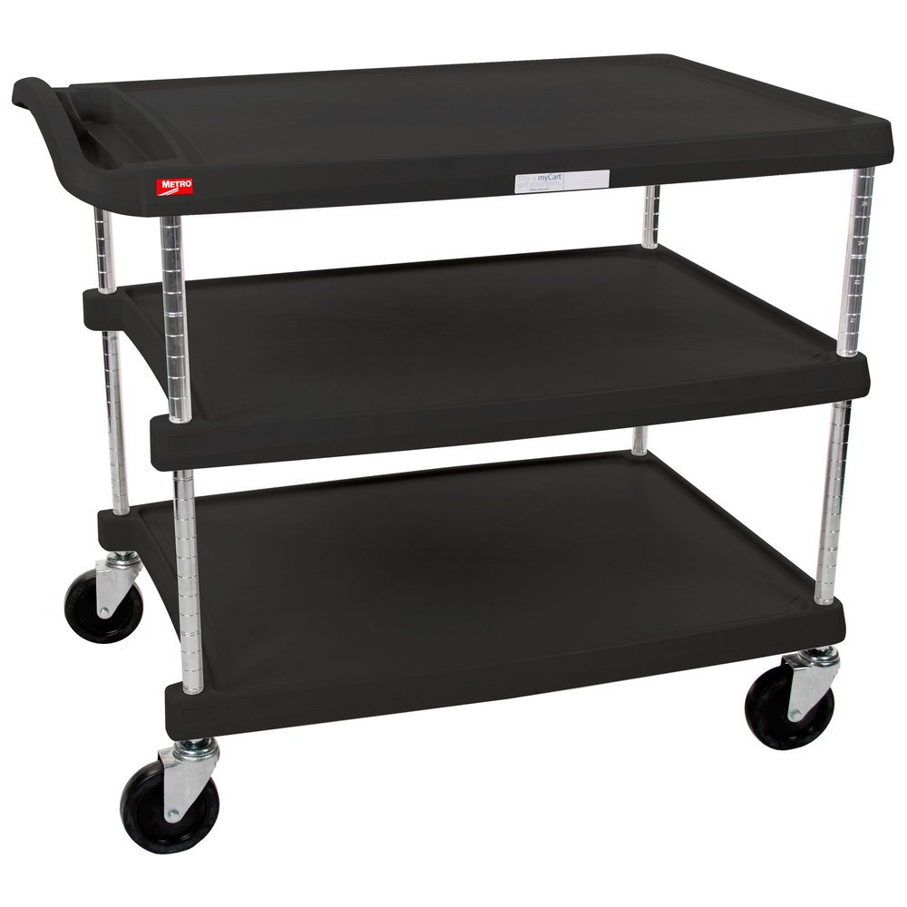 InterMetro Industries MY2636-35BL Mycart Series Black Polymer Utility Cart, 3 Shelf, 36.63 X 40.25 X 27.69-Inch