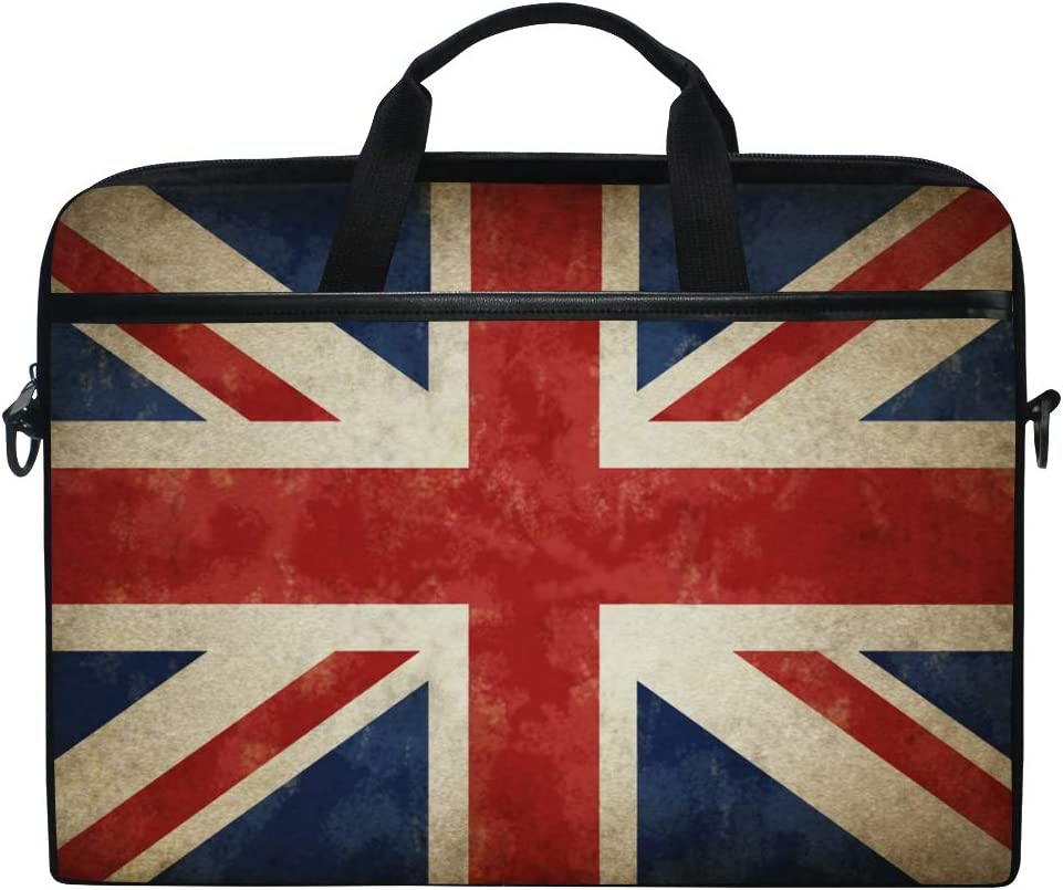 KUWT Laptop Case Vintage UK Flag Union Jack Laptop Shoulder Messenger Bag Case Sleeve Crossbody Briefcase with Strap Handle for Notebook Computer