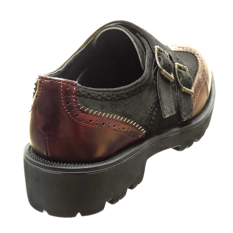 Angkorly Zapatillas Moda Zapato Derby Bimaterial Mujer Hebilla Perforado Tacón Ancho 3.5 cm cm - Negro FD266 T 38 Jodow2zAZ