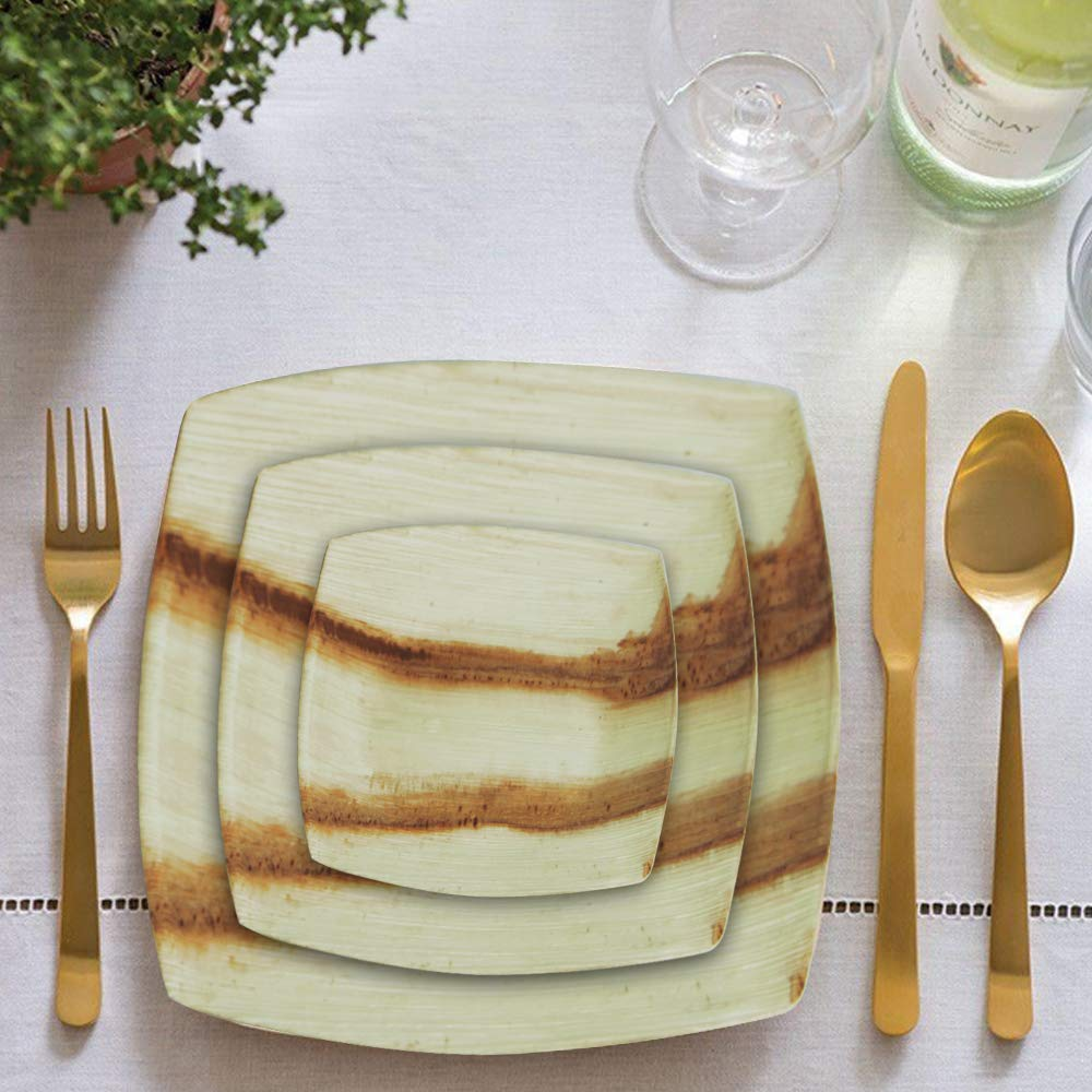 8'' Quadrato Square Disposable Palm Leaf Plates by Scrafts - Compostable,Biodegradable Heavy Duty Dinner Party Plate - Comparable to Bamboo Wood - Elegant Plant Based Dishware: (50 pcs Pack) by Scrafts (Image #4)