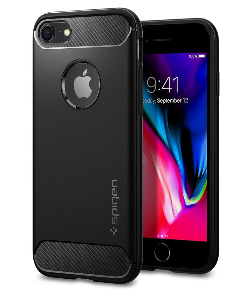 iPhone 8 Case, Spigen Rugged Armor - Resilient Shock Absorption and Carbon Fiber Design for Apple iPhone 7 (2016) / Apple iPhone 8 (2017) - Black Inc. 042CS20441