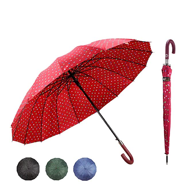J handle large Umbrella Polka Dot 16 Ribs Quick-drying Automatic Open Windproof Waterproof Stick Umbrellas for Men Women Gifts,Red
