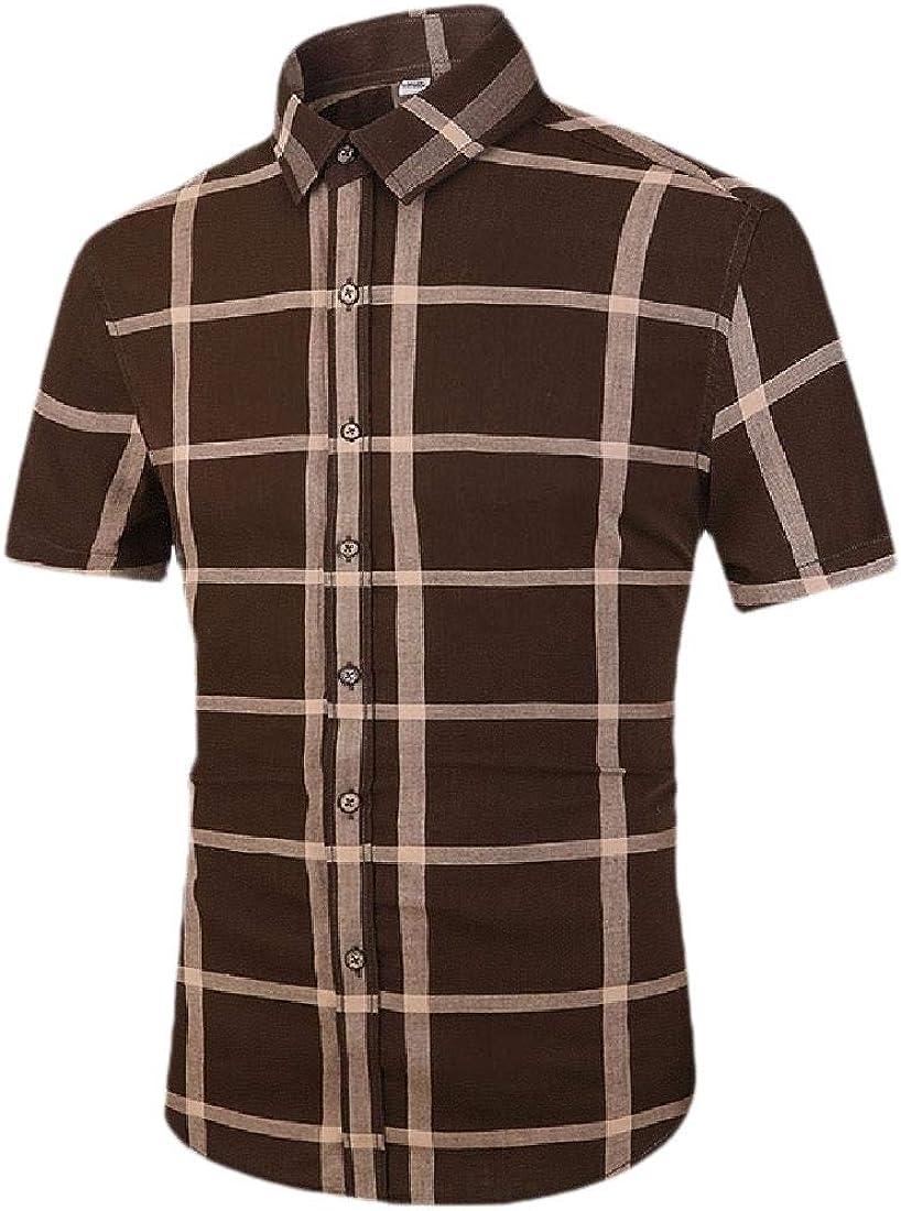 Keaac Men Business Short Sleeve Button Down Dress Shirts Cotton Shirts