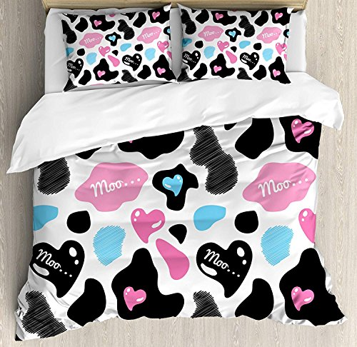 Cow Print Twin Duvet Cover Sets 4 Piece Bedding Set Bedspread with 2 Pillow Sham, Flat Sheet for Adult/Kids/Teens, Cow Hide with Hearts Moo Barnyard Love Valentine's Abstract Design