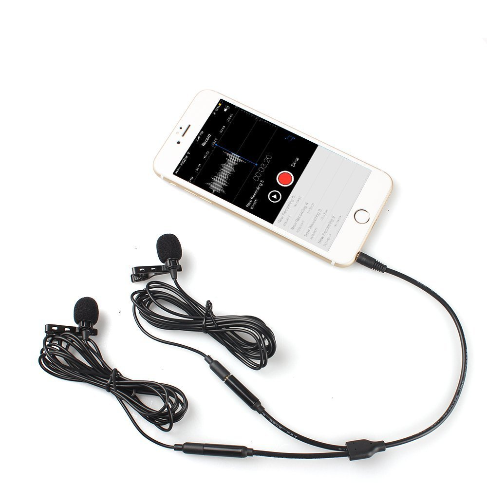 Dual Lavalier Mics-MAONO AU404 Lapel Clip-on Mini Omnidirectional Vocal Condenser Interview Microphones for DSLR Camera, Smartphone, Computer, Tablet by MAONO