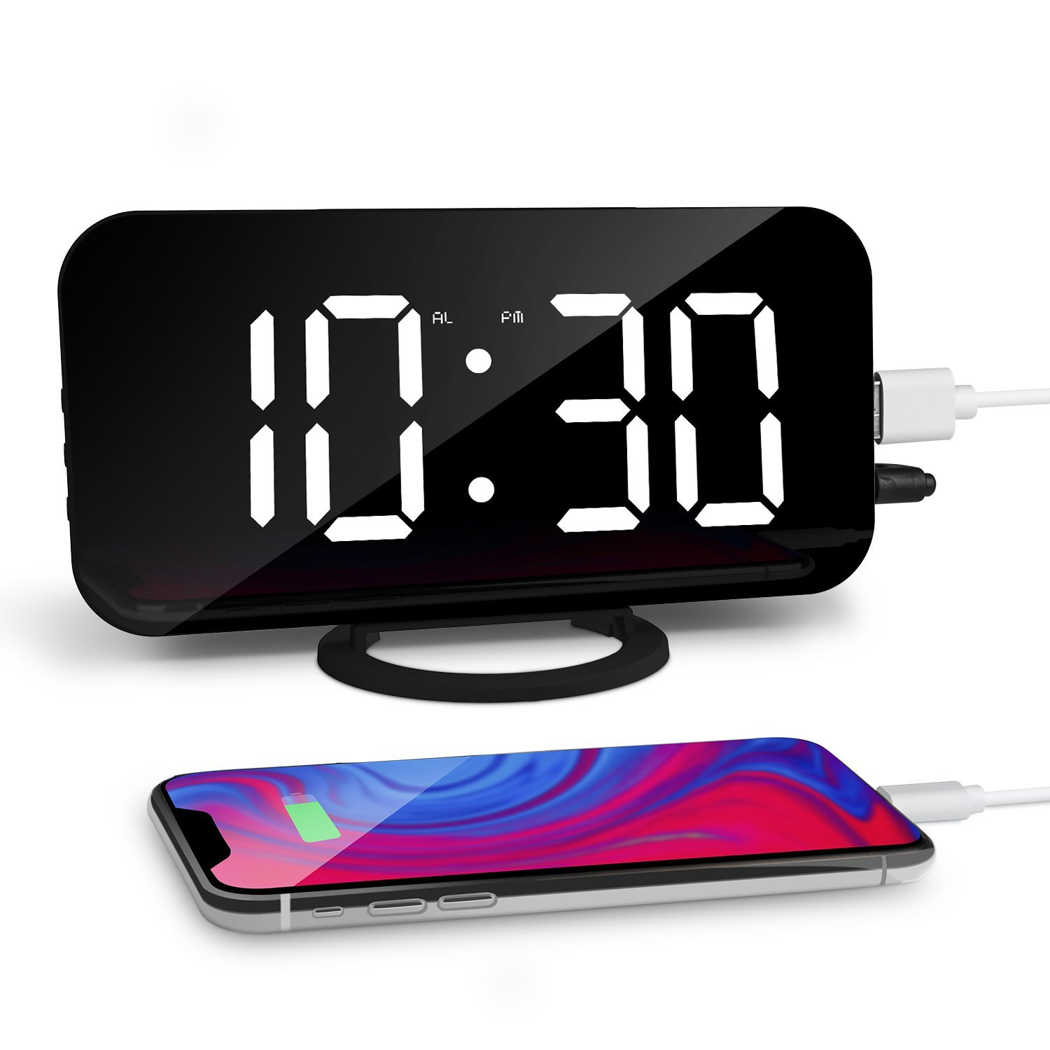 GEEKERS Digital Alarm Clock, 6.5'' Large Display Alarm Clock with Dual USB Charger Port, Dimmer and Big Snooze, LED Clock with Mirror Surface, Suitable for Bedroom, Home, Office Décor