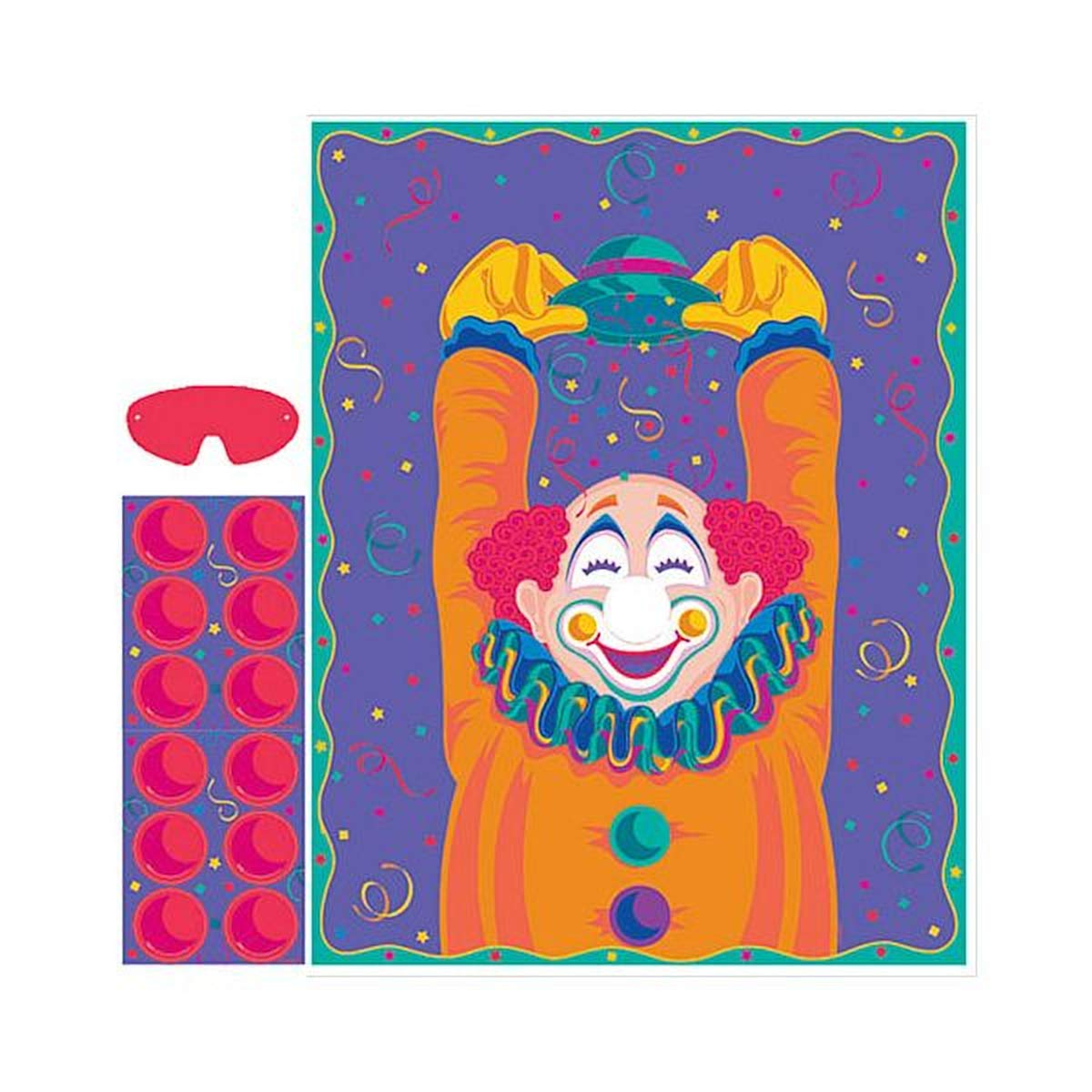 Pin the Nose on the Clown Party Game | Game Collection | Party Accessory | 12 Kits