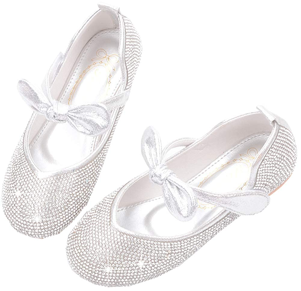 AGOWOO Girls Bling Beaded Princess Dress Loafers Shoes Sandals