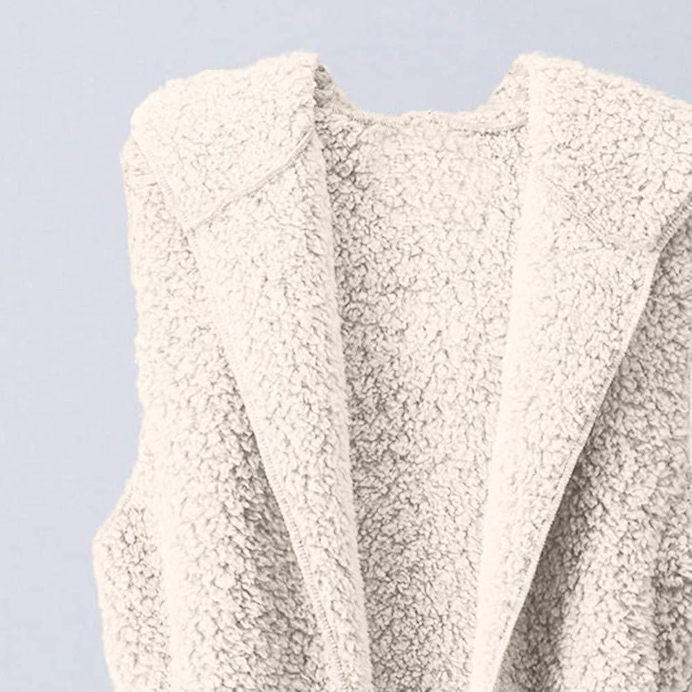 zycShang Manteau Femme Peluche sans Manches Gilet Hiver Tr/èS Chaud Outwear Veste Chaude Et Confortable Slim /éL/éGant Garder Au Dames Hem Wrap Sweat Doublure Serrage D/éContract/é Sweatshirt